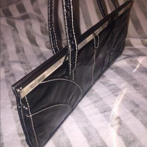 Handbags - 🌞3/$19! Black patent/chrome clutch evening bag!